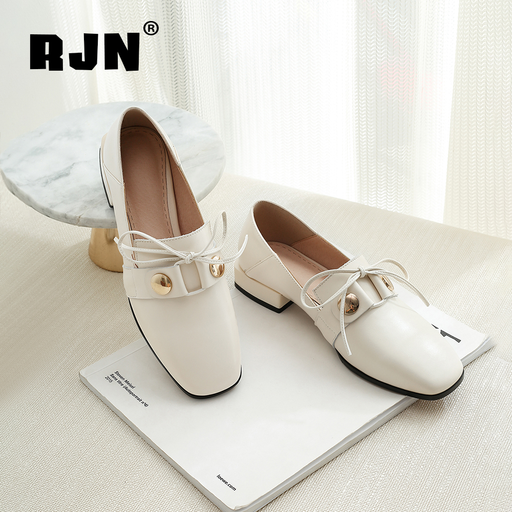 Hot Sale RJN Fashion Matel Decoration Women Pumps Solid Handmade Cow Leather Square Toe Low Heel Slip-On Leisure Shoes Lady Loafers RO54