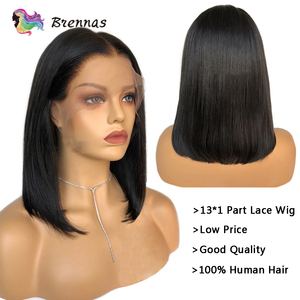 Image 2 - Straight Short Bob part lace Wig natural color 13x1 wig Brazilian Remy human hair wigs glueless wigs with Baby Hair For Women