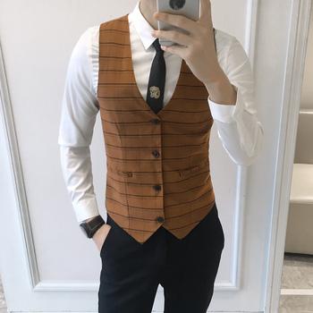 2020 męskie klasyczne Plaid kamizelki formalne formalne na wesele kamizelki Casual bez rękawów Plus rozmiar kamizelka Slim Fit smokingowy garnitur kamizelki tanie i dobre opinie Xintown Suknem Na co dzień Poliester Dress Vests For Men chalecos para hombre Casual Sleeveless Vests Formal Business Vests