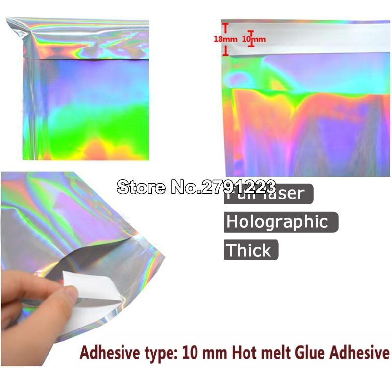 100PCS Holographic Laser Poly Mailers Mailing Self Sealing Envelope Zip LockYYY