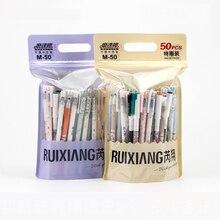 50 개/가방 지울 수있는 젤 펜 한국어 kawaii 편지지 0.5mm 블루 젤 잉크 유니섹스 펜 학생 학교 용품 ruixiang M 50
