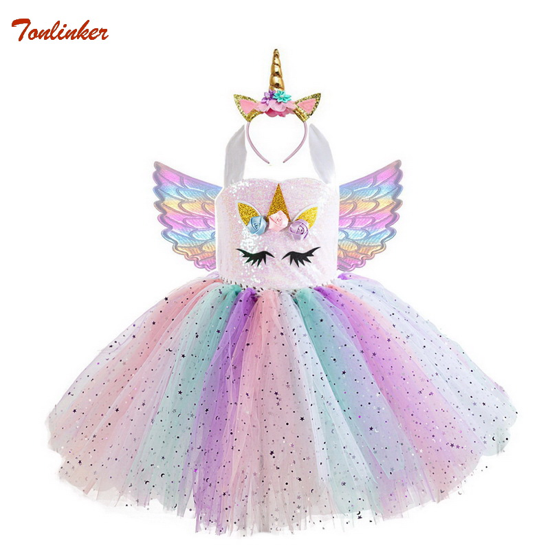 Kids Unicorn Costumes For Girls Unicorn Tutu Dress With Gold Headband Wings Prin