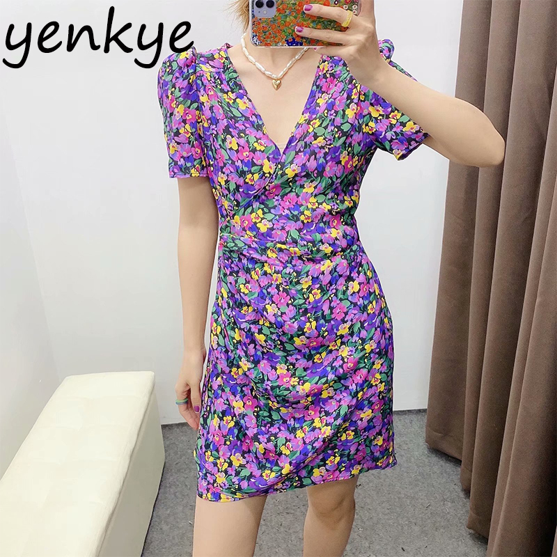Multicolor Floral Print Dress Women V Neck Short Sleeve Summer Dress Female Asymmetric Mini Dress Sundress Robe Femme BBWM2217