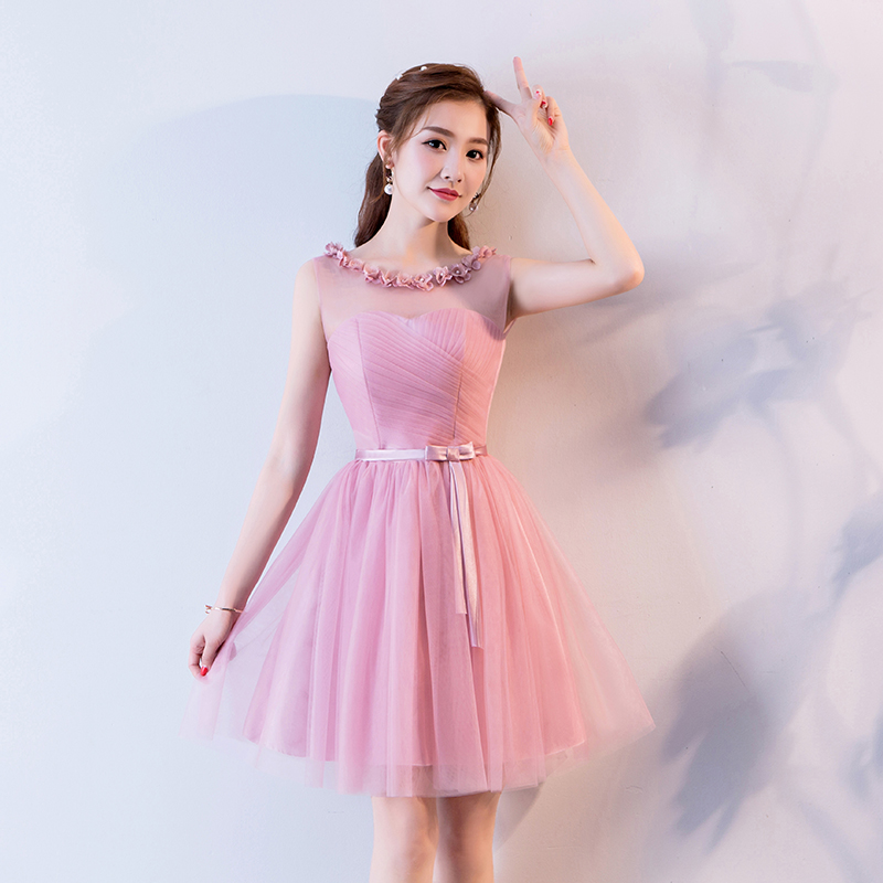 Elegant Bridesmaid Dresses Short Pink Guest Wedding Party Dress Tulle A-Line Sexy Princess Dress Simple Prom Azul Royal Vestido