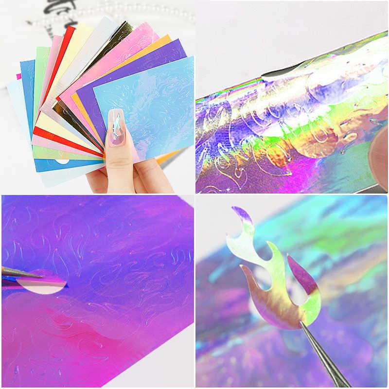 16 สี Holographic เปลวไฟเล็บ Vinyls สติกเกอร์ Hollow ยิงบนลายฉลุเล็บสติ๊กเกอร์ตกแต่งเล็บ