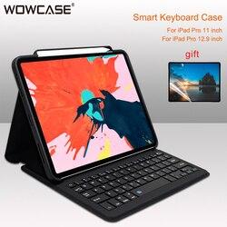 Bluetooth-toetsenbordhoes voor iPad Pro 12.9 / 11 2018 Auto Sleep / Wake Smart PU-lederen beschermhoes Lichtgewicht Ultradunne Folio-standaard Cover Pen Slot Shell Accessoire voor iPad Pro 11 12.9 (3e generatie)