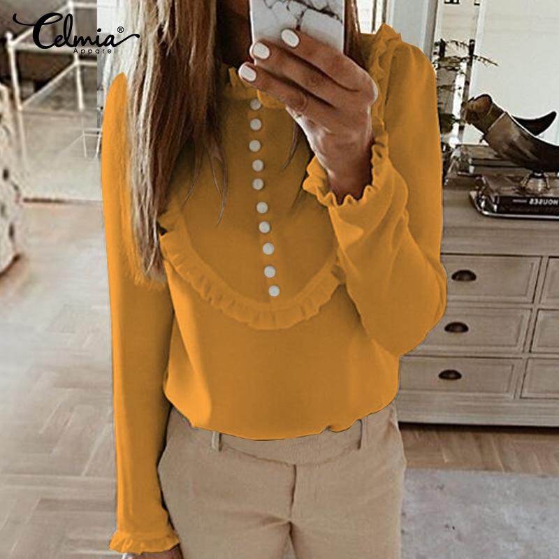 Top Fashion Celmia Women Ruffled Blouses 2020 Long Sleeve Casual Buttons Solid Party Shirt Plus Size Elegant OL Blusas Femininas