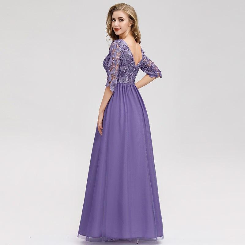 It's Yiiya Evening Gown O-Neck Chiffon Floor-Length Lace Evening Dress 2020 Half Sleeve A-Line Plus Size Robe De Soiree C432