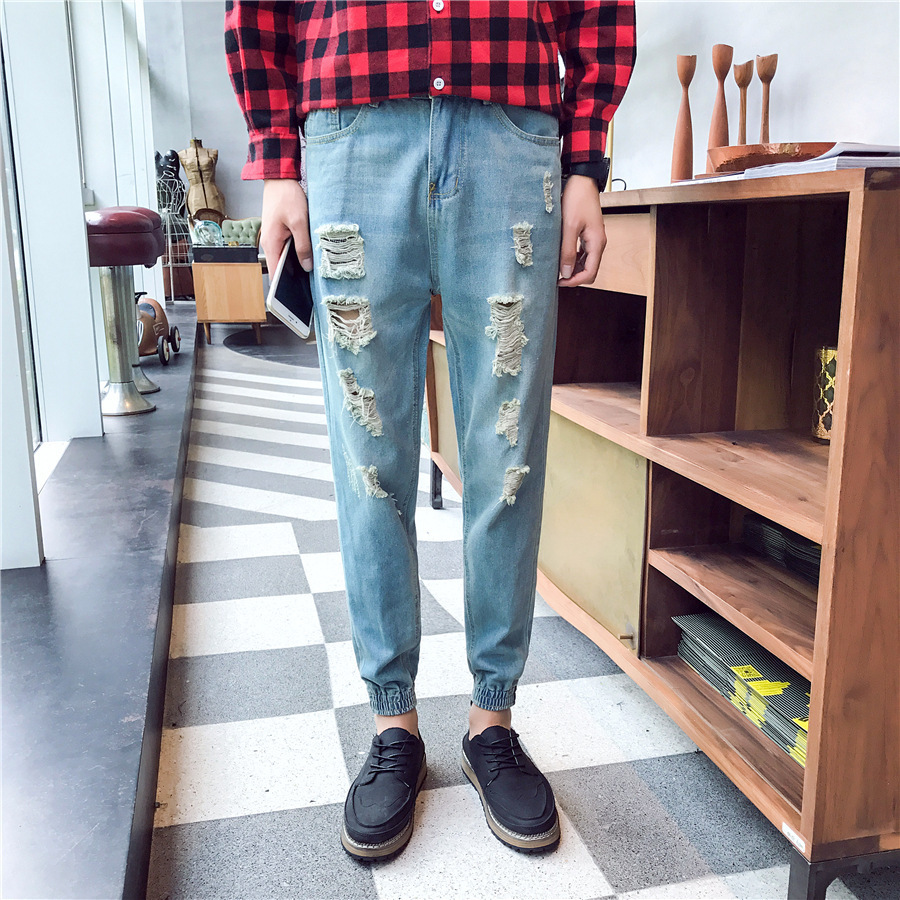 Spring Clothing Men With Holes Jeans Men's Capri Ankle Banded Pants Retro Necking Shank Ripped Jeans Skinny Harem Pants Fashion