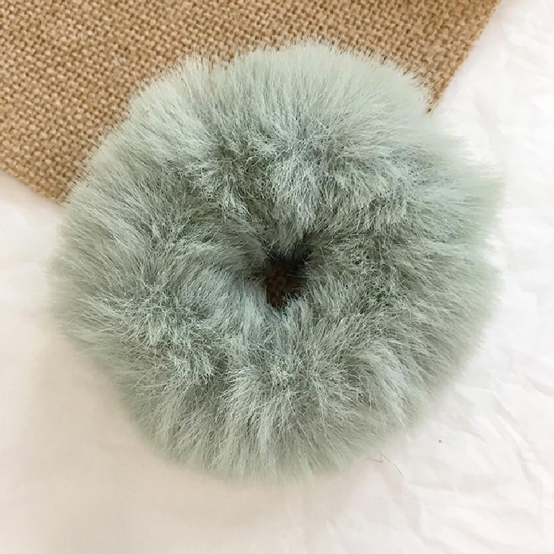 Новые зимние теплые мягкие резинки из кроличьего меха для женщин и девушек, эластичные резинки для волос, плюшевая повязка для волос, резинки, аксессуары для волос - Цвет: 36