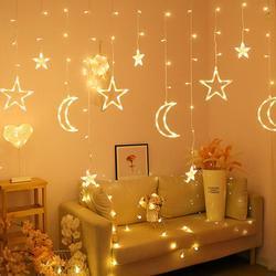 3.5M Bulan Bintang Lampu Lampu LED String In Lampu Natal Dekorasi Hari Libur Lampu Tirai Pernikahan Lampu Neon Lentera Peri cahaya