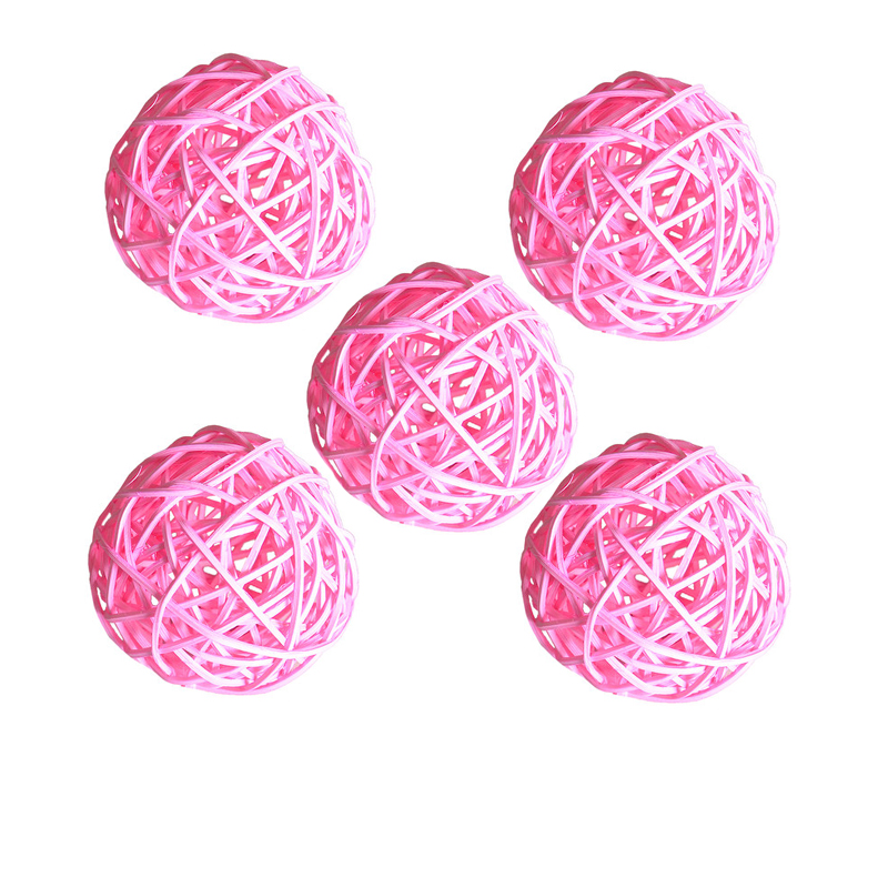 Ротанговые плетеные тростниковые шары диаметром 5 см для сада патио, свадебные, вечерние украшения, DIY для тайского стиля гирлянды - Цвет корпуса: Pink