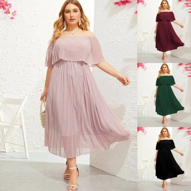 Summer Dresses Women Plus Size Off The Shoulder Layered Ruffle Party Casual Maxi Dress Sundress 5