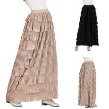 Muslim Women Velvet Long Skirt Layered High Waist Ruffle Pleated Stretch Dress Gypsy Islamic Bottoms A-line Maxi Skirts Casual