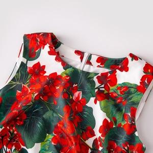Image 4 - SEQINYY Vintage Dress 2020 Summer Spring New Fashion Design Women Red hydrangea Flower Print Tassel Asymmetrical Vest Slim Dress