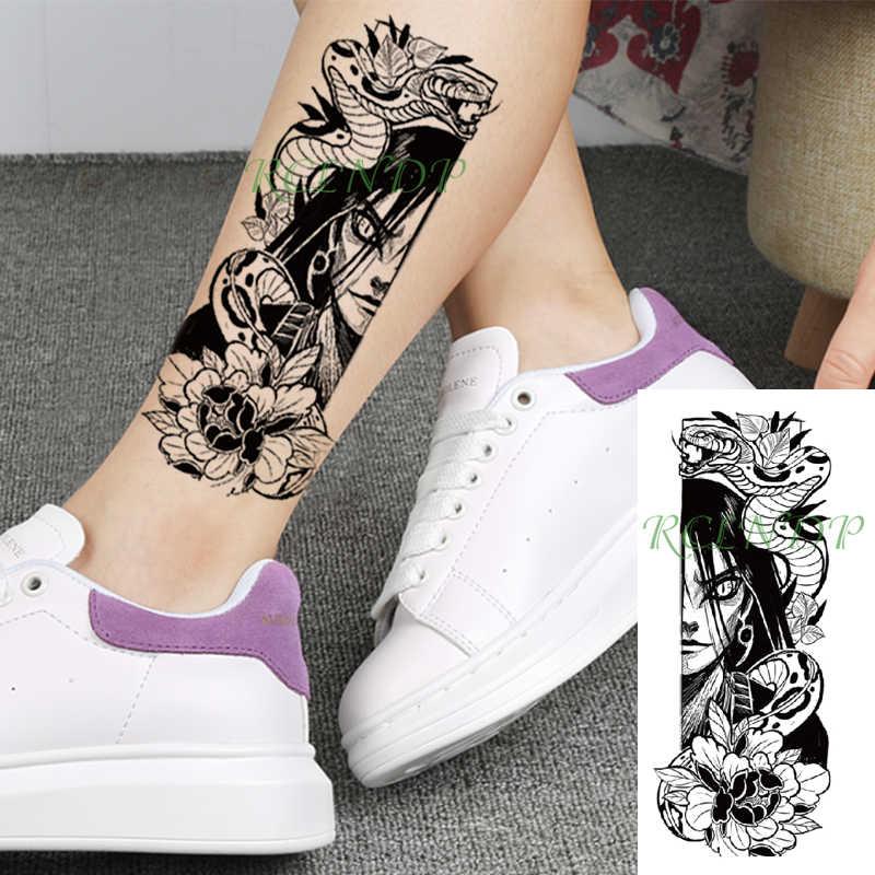 Su geçirmez geçici dövme etiket japon karikatür Naruto Orochimaru yılan çiçek sahte dövme flaş dövme için kız kadın erkek