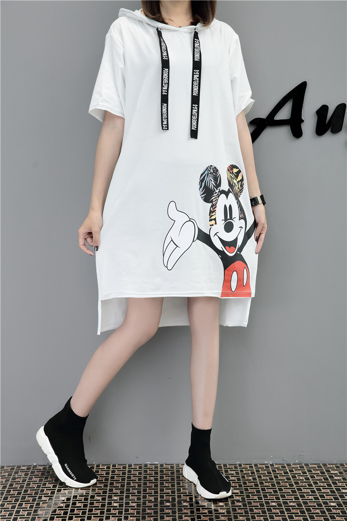 H1b01442add5c4efeb35d744d28abe04dh - New Runway short sleeve Hooded Sweatshirt dress casual mickey cartoon printed women femme oversize dresses vestidos
