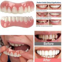 2 pçs superior + inferior silicone dentes falsos superior inferior inferior inferior superior folheados falsos dentes cosméticos dentadura um tamanho se encaixa a maioria