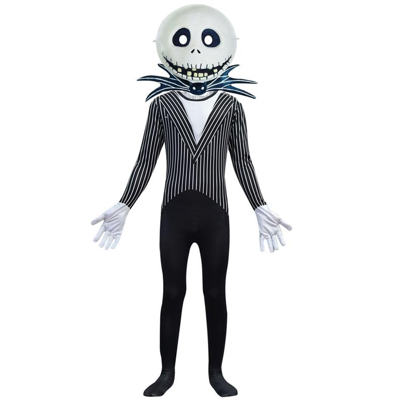 Anime Jack Skellington Kids Cosplay Costume Christmas Carnival Fancy Black Stripe Jumpsuit+Mask Children Boys Clothes C46599CH 1