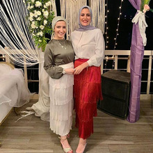 Long-Skirt Moslim Bottom Abaya Islamic Turkey Dubai Tassel Jupe Musulman Elbise Vetement