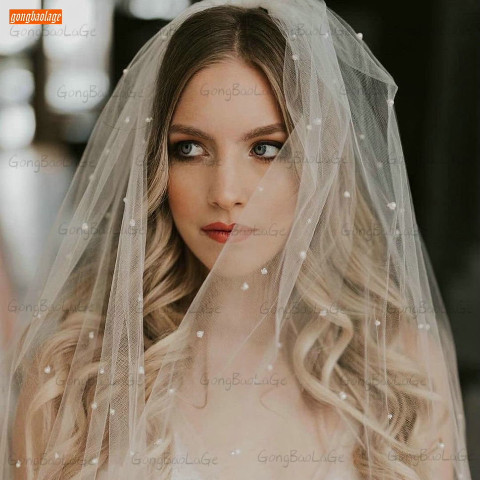Белая свадебная фата 2021 метра длиной, жемчужная мягкая свадебная фата с гребнем, двухслойная Тюлевая Фата цвета слоновой кости для невесты, ...