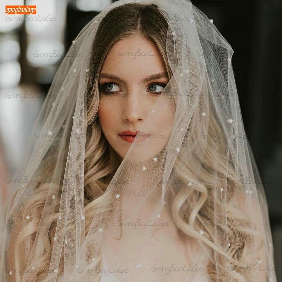 Véu de noiva 2020 branco com 0.75 metros, véu de noiva longo com pérolas macio, pente, duas camadas, tule marfim, roxo acessórios de casamento