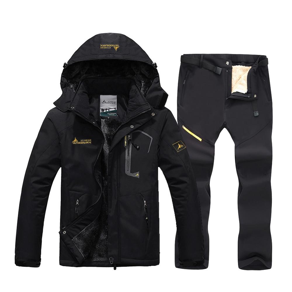 Зимний флисовый теплый лыжный костюм для мужчин, водонепроницаемый ветрозащитный лыжный костюм и куртка для сноуборда, комплект со штанами, мужские зимние костюмы, уличная Лыжная куртка|Лыжные куртки|   | АлиЭкспресс