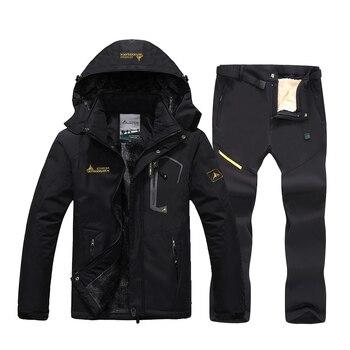 Winter Fleece Warm Ski Suit Men Waterproof Windproof Skiing and Snowboard Jacket Pants Set Men Snow Costumes Outdoor Ski Jacket