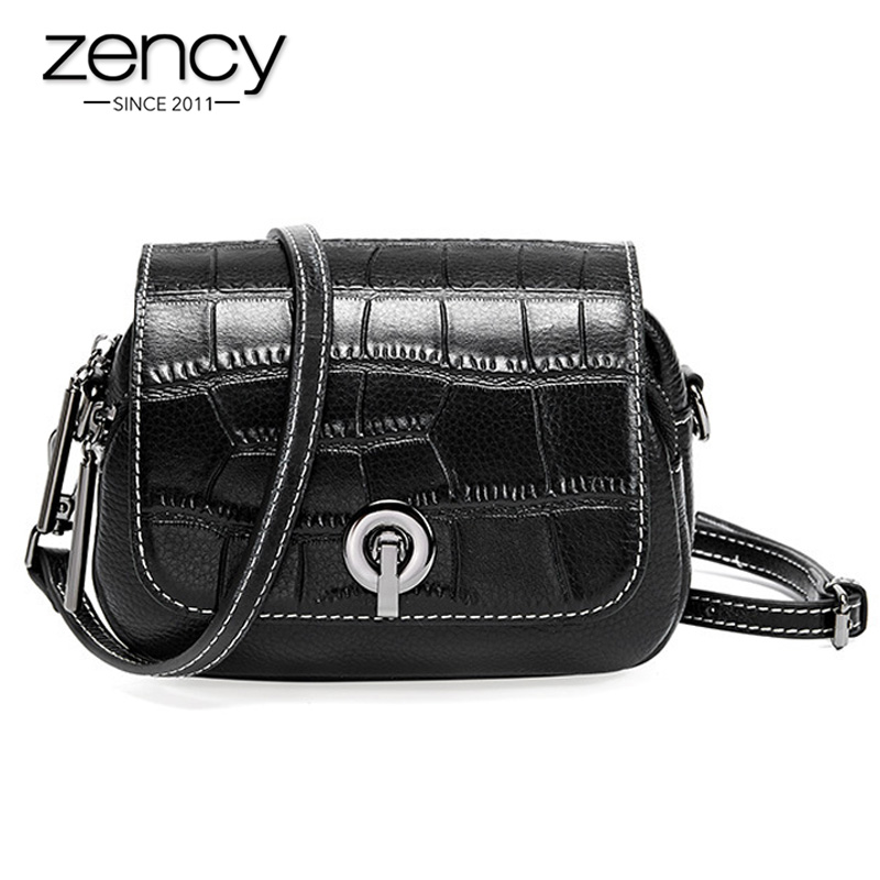 Zency New Fashion Top Layer Cowhide Leather Women Shoulder Bag Crocodile Pattern Flip Small Round Messenger White Black
