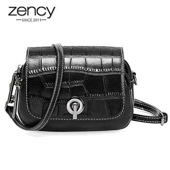 Zency New Fashion Top Layer Cowhide Leather Women Shoulder Bag Crocodile Pattern Flip Small Round Messenger White Black - DISCOUNT ITEM  51% OFF All Category