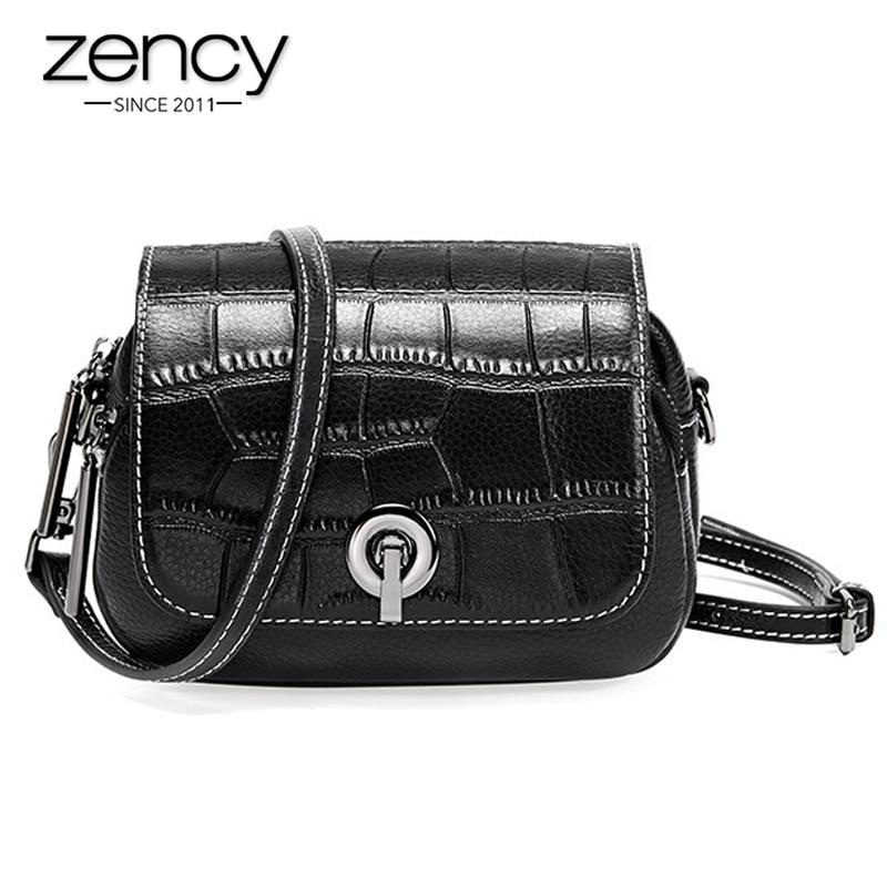Zency nova moda camada superior couro das mulheres ombro saco de crocodilo padrão flip pequeno redondo mensageiro branco preto