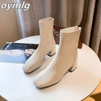 2020 Elegant Women Beige Thick High Heels Ankle Boots Designer Soft Leather Zippers Sock Boots Vintage Lady Low Heel Boots Shoes kulada boots women double zippers ankle boots women suede leather boots women high heels thick soles basic botas mujer