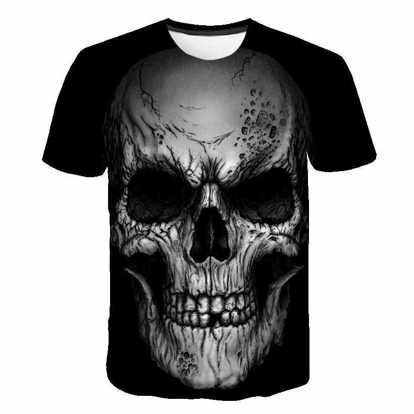 Bianco t shirt 3D Del Cranio maglietta Degli Uomini t-shirt Maschio Top Estate Tee Camiseta Qualità Manica Corta O-Collo Hip Hop Goccia la nave