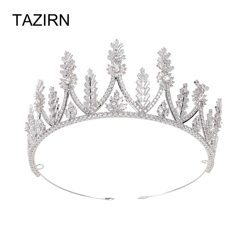 Be 8 новый цветочный дизайн AAA кубический циркон Корона и тиары Благородные Свадебные аксессуары для волос свадебный подарок H078 - 4