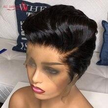 Pixie corte bob frente do laço perucas de cabelo humano natural preto 13*4 em linha reta perucas da parte dianteira do laço curto para as