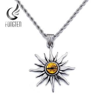 Colgante de ojo malvado de sol Fongten, collar de cadena de motorista de acero inoxidable estilo gótico, collares de joyería