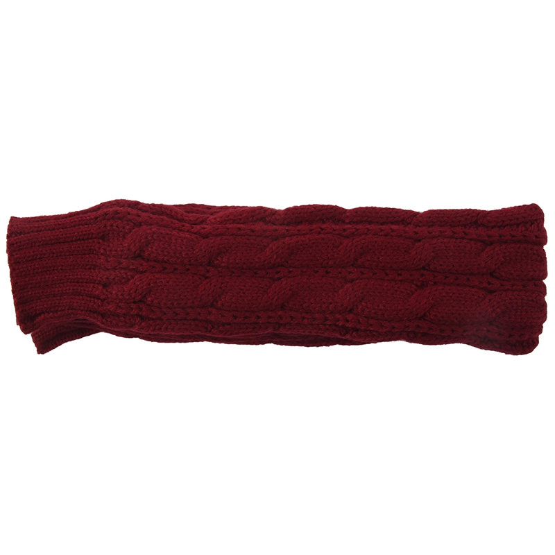 Fashion Winter Women Men Gloves Unisex Arm Warmer Long Fingerless Knit Mitten Wine Red 50cm