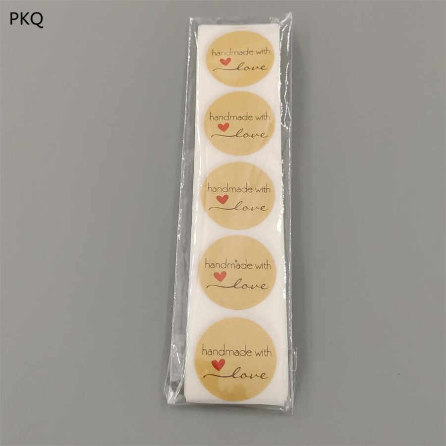 Diameter 2.5cm Handmade with love Paper Sticker Round Kraft Adhesive Labels Baking Products Package Seal Stickers 100pcs
