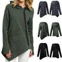 Women Ladies Asymmetric Hoodie Coat Outerwear Jumper Zipper Sweatshirt Jacket sweatshirts outerwear side zipper design women hoodie sweater coat