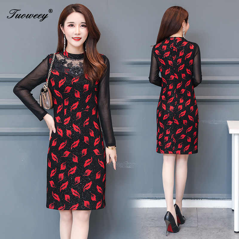 Autumn Winter Plus Size Redsee through sexy mini Dresses Women Elegant Korean Bodycon tshirt Dress Party Long Sleeve Vestidos