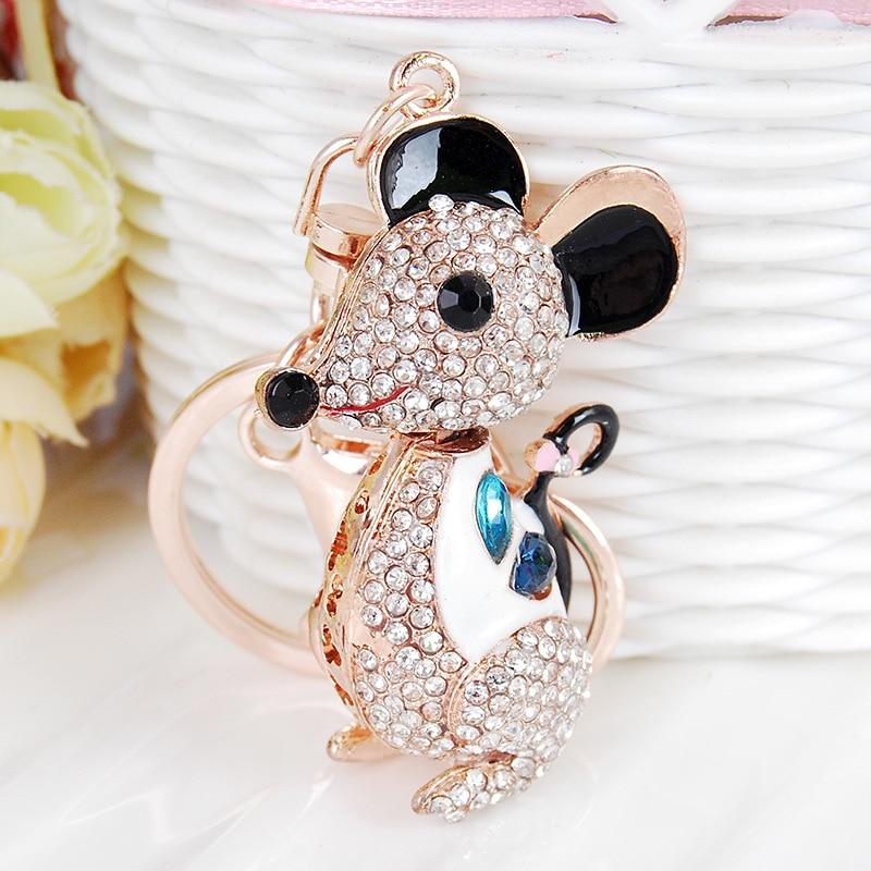 Cute Rat Crystal Keychain Lovely Mouse Animal Rhinestone Pendant Keyring Gift