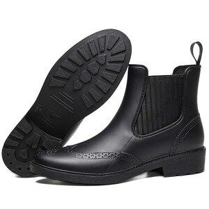 Image 5 - Zapatos de goma para otoño, Botas de lluvia para mujer, Botines Chelsea impermeables, botas de plataforma plana para niña, botines de primavera para mujer laarzen