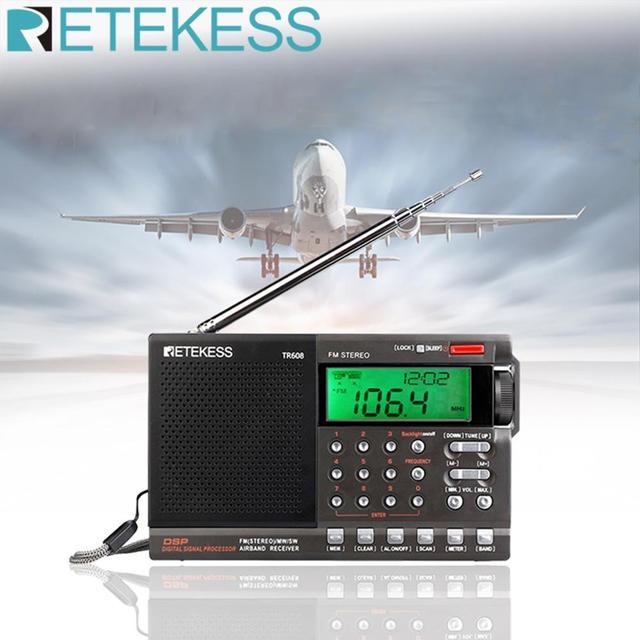 Retekess TR608 FM MW SW 라디오 에어 밴드 디지털 휴대용 여행 라디오 24 시간 시간 시계 수면 타이머