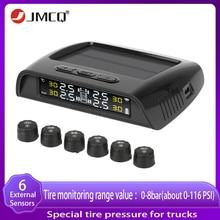 JMCQ solar power Truck TPMS Alarm Tire Pressure Sensor Monitoring System Auto Security alarm Pressure control system 6 sensor