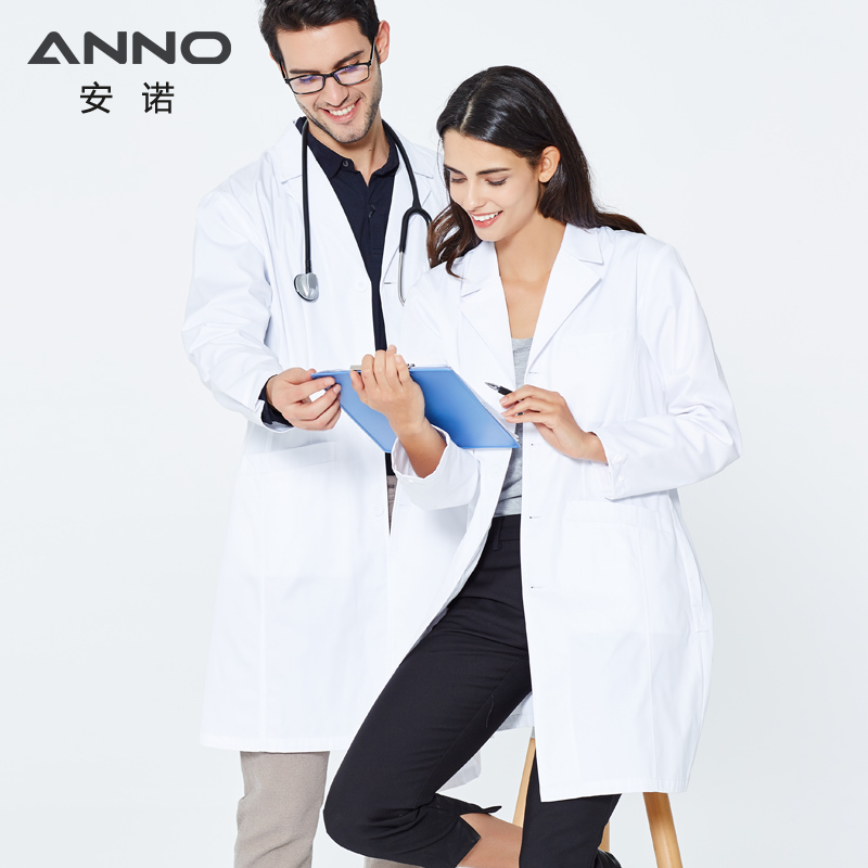 ANNO White Lab Coat Doctor Uniform For Women Men Outfit Outwear Medical Clothing Long Sleeve Hospital Scrubs Suit