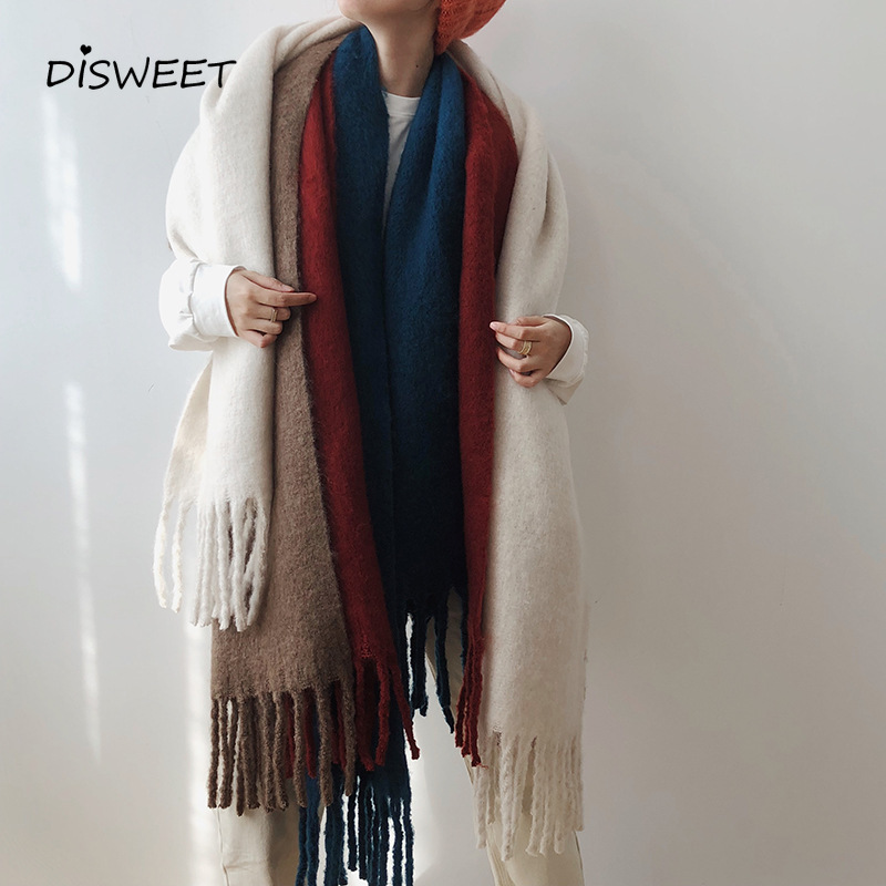 Get Special Offer  Korean Thick Mohair Scarf Woman Fashion Fringed Warm Winter Women's Scarf Simple Solid Color Warm H