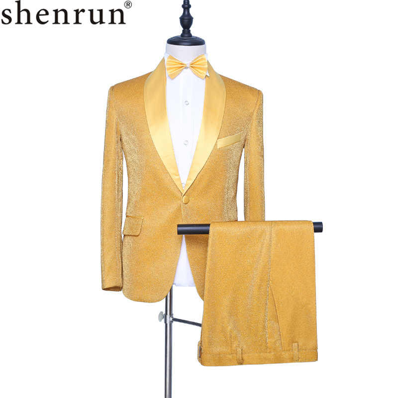 Shenrun Men's Gold Tuxedo Fashion Slim Fit Groom 2-Piece Suit Singer Drummer Host Party Prom Stage Costume Night Club Male Suits