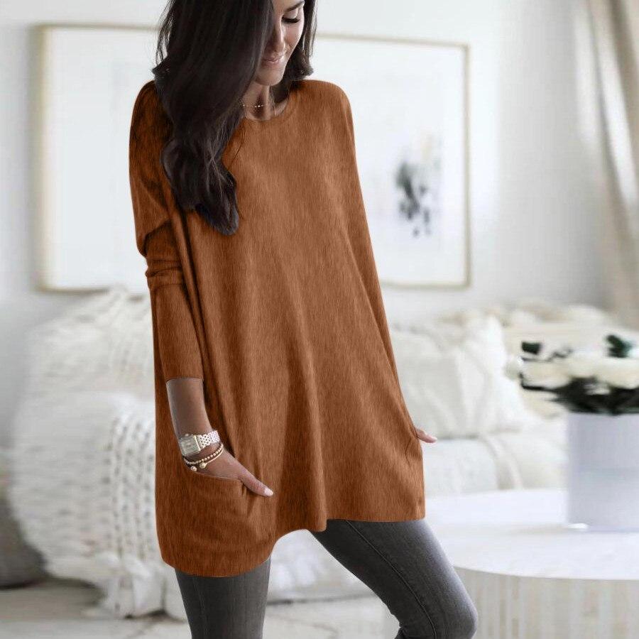 Womens Solid Warm Long Sleeve Sweatshirt Loose Pocket Daily Pullover Tops #4O08 (50)