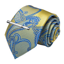High Quality Men Tie Gold Blue Paisley Silk Wedding Tie For Men DiBanGu Designer Hanky Cufflinks Clip Set Dropshipping MJ-7186 new designer quality men s tie red solid paisley silk wedding tie for men dibangu hanky cufflinks clip set dropshipping mj 7190