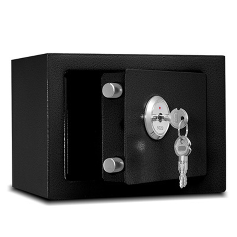 Durable Quality Strong Iron Steel Black Key Operated Security Money Cash Safe Box Home Office House New Arrival